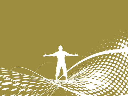 Abstract wave halftone background with man raising his hands Vector