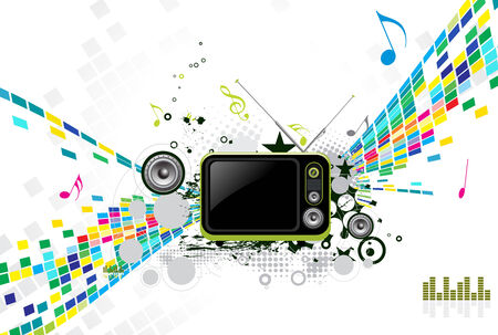 abstract mosaic vector composition with Retro television. Vector
