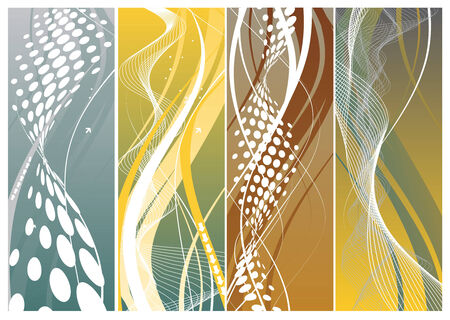 four banners on different themes, multi-colored Vector