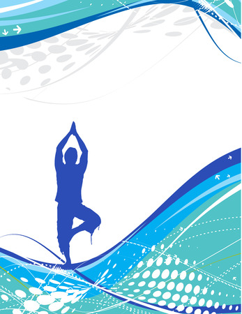 yoga mat: halftone wave line with yoga composition ,vector illustration
