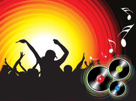 silhouettes of people dancing with music disc backgroung Vector