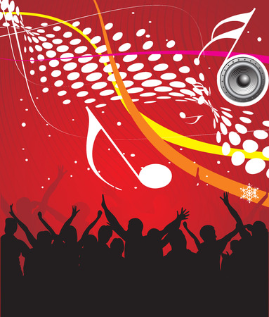 silhouettes of people dancing with music speaker backgroung Vector