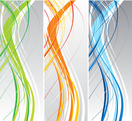 three different color abstract vector background with wave lines Illustration