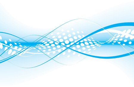 abstract blue  wave halftone line composition, vector illustration Vector