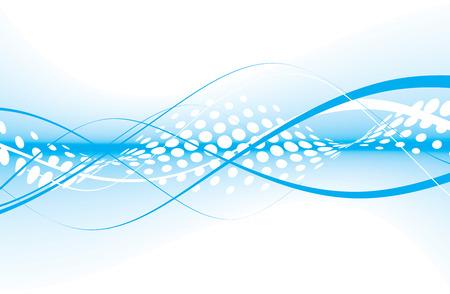 digital wave: resumen onda media l�nea azul composici�n, ilustraci�n vectorial