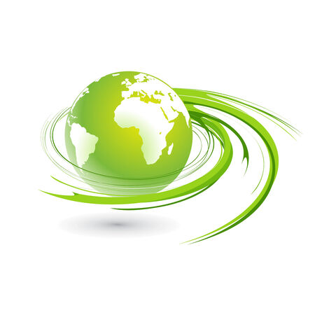 asia business: Abstract illustration with swirl globe Illustration