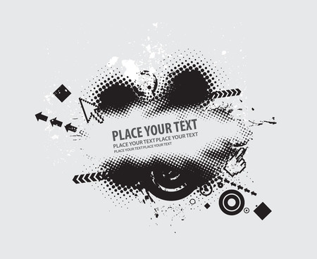 grunge vector composition with halftone urban backgroung Vector
