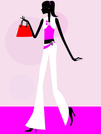 sexy girl with shopping bags vector illustration Vector