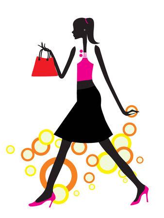mujer en el supermercado: sexy girl con ilustración vectorial de bolsas de la compra