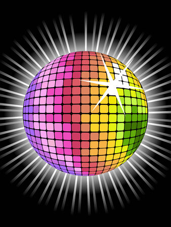 vector background with rainbow disco ball for valentines party