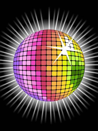 Vector de fondo con la pelota de arco iris discoteca para la fiesta de San Valentín Ilustración de vector