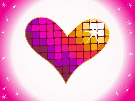 Valentines Day background with disco light style Hearts Vector