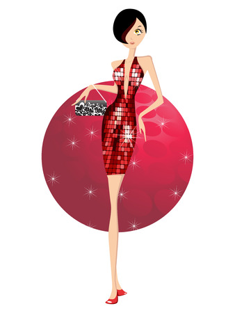 red glittery: Dancing girl with handbag in disco background Illustration