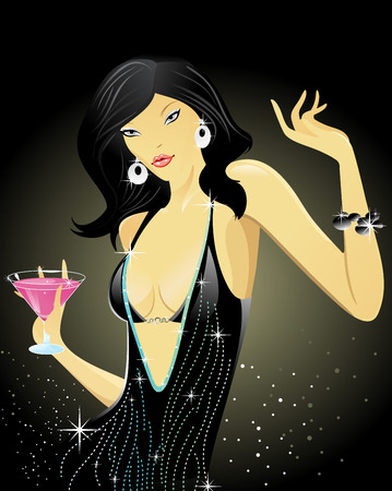 sexy woman vector illustration with dance party of love Vector