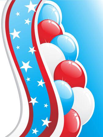 Patriotic Balloon Bunch with American flag Vector