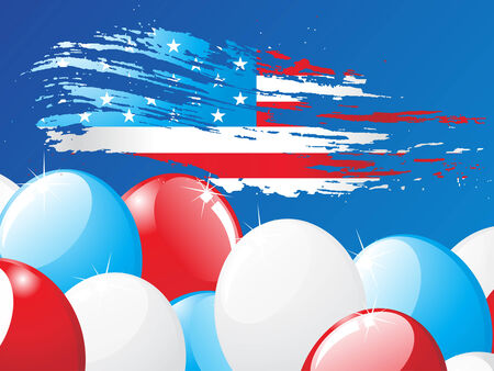 grunge American flag with balloon background Vector