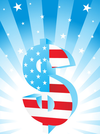 American flag shape of the American Dollar currency symbol. Vector