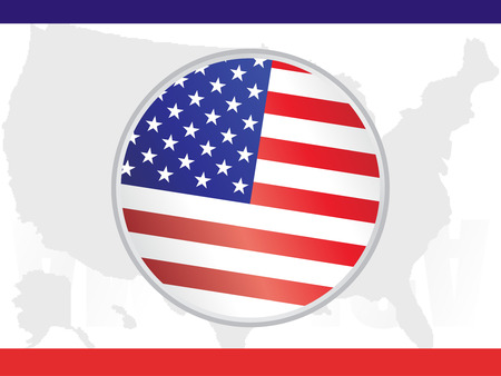 Campaign Buttons with American flag background Vector
