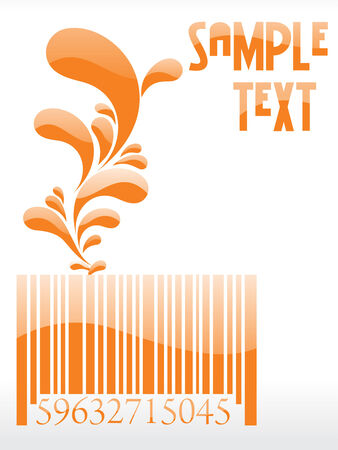 floral barcode with place in sample text Vector