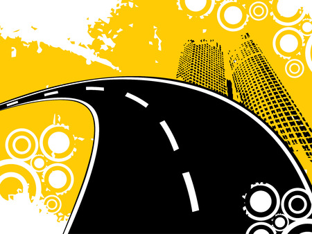 illustrator vector: road background with building and retro vector Illustration