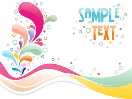vector waves: multi color floral card design with place of sample text Illustration