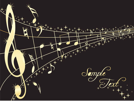 writing instrument: Abstract musical lines with music notes. Vector illustration