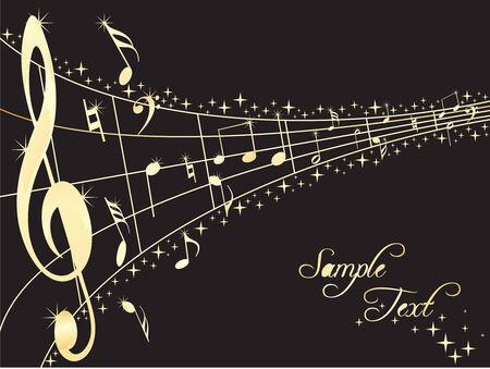 orquesta clasica: Resumen l�neas musicales con notas musicales. Vector illustration
