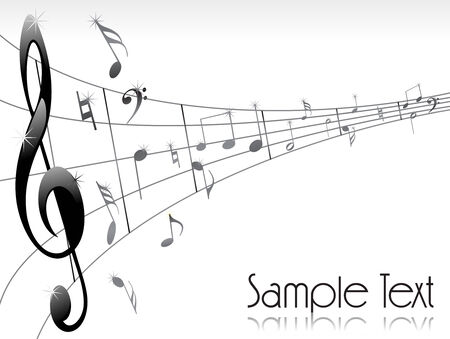 melodist: Abstract linee musicali con le note musicali. Vector illustration Vettoriali