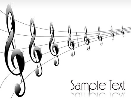 music notes vector: Abstract musical lines with music notes. Vector illustration