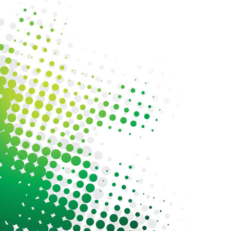 Abstract wave halftone background with green color halftone Vector