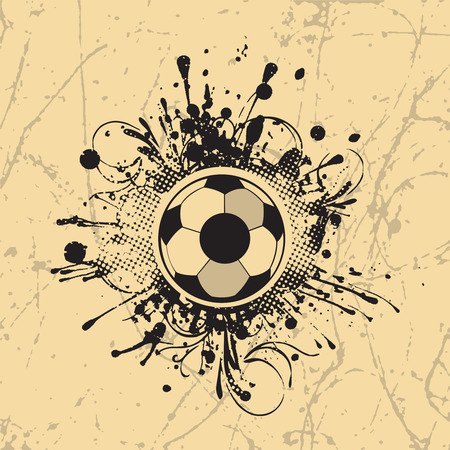 grunge football: Football banner with the grunge balls background  Illustration