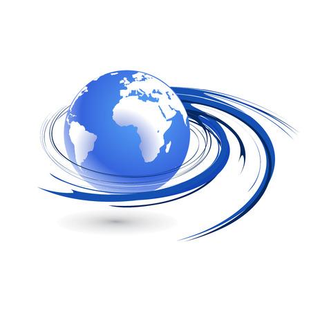 Résumé illustration vectorielle avec un globe terrestre swirl