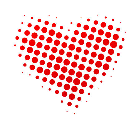 abstract artistic red halftone heart-shape background Vector