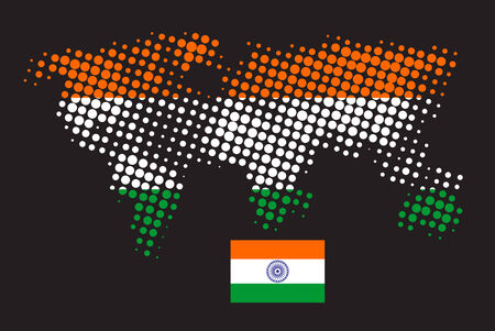 Halftone dot flag of India in terms of colours Vector