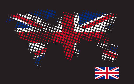 dimensions: British flag with exact dimensions and halftone dot Illustration