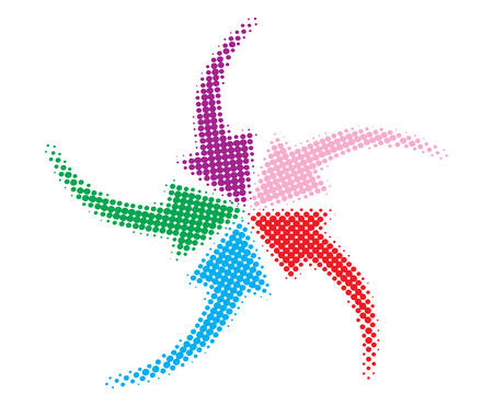 Rainbow Loop with vector halftone dots arrow Vector