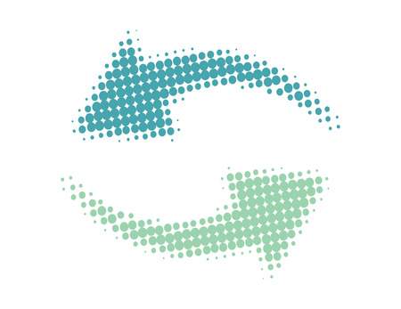Rainbow Loop with vector halftone dots arrow