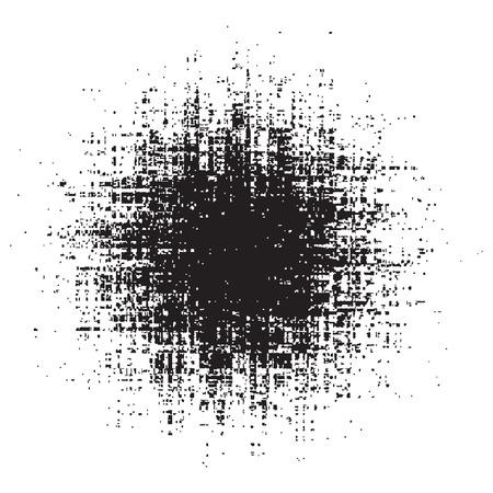 Ink splat overlayed by halftone dots in black and white background Ilustração