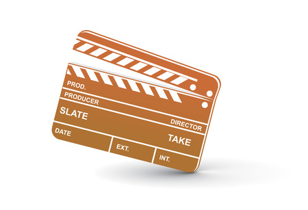 Vector modern colored clapper board with white board. Vector
