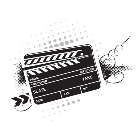 Vector grunge modern colored clapper board with white board Vector