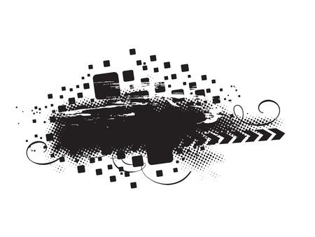 grunge vector: grunge vector composition with halftone urban background Illustration