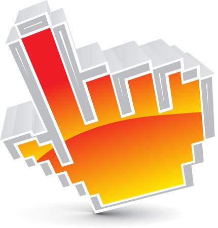 3d vector hand mouse cursor icon Vector