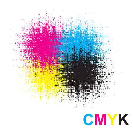CMYK paint splat with vector drops Vector