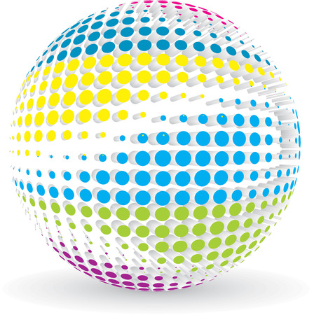 vector 3d halftone rainbow color sphere Vector