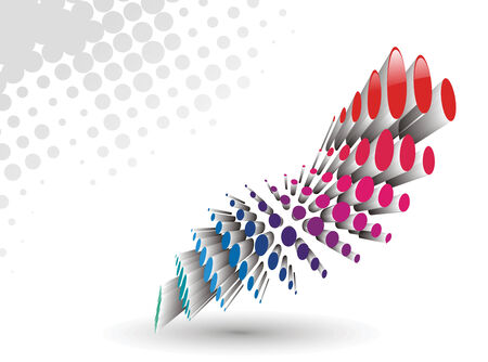 3d rainbow color vector wave halftone Vector