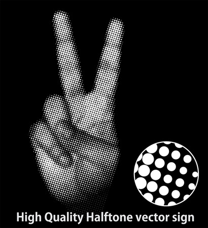 vector hand (from high quality halftone victory sign) Vector