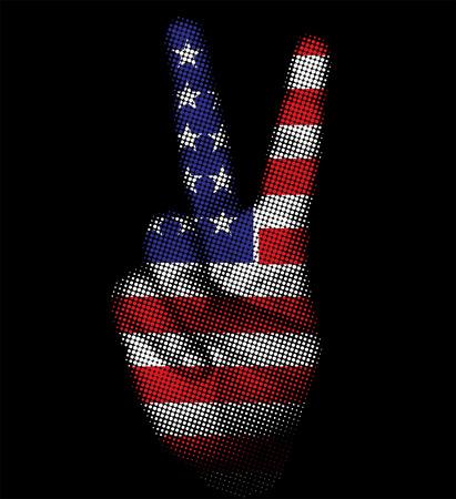 usa flag on grungy hand halftone background