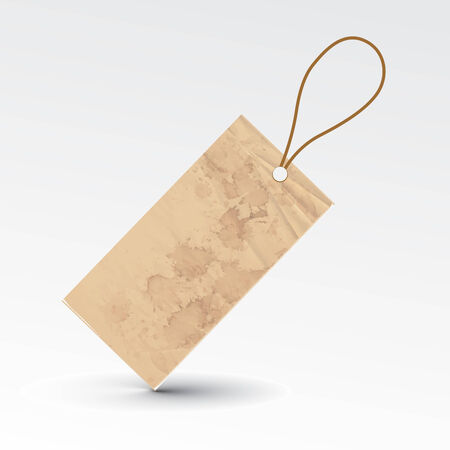 bargain price: vector blank grunge tag tied with brown string.