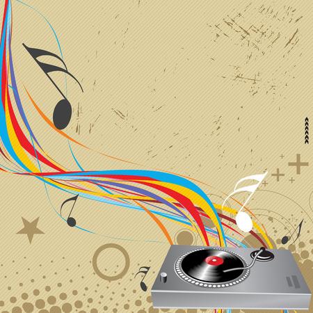 Turntable on grunge-rainbow wave lien background  Vector