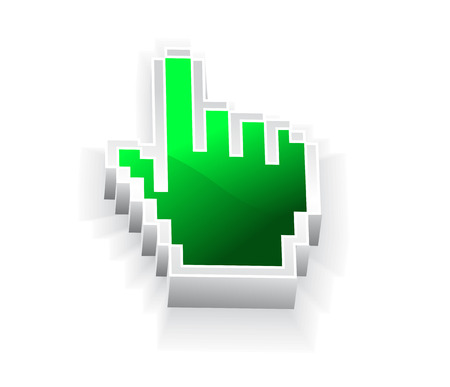 help section: 3d vector hand mouse symbol